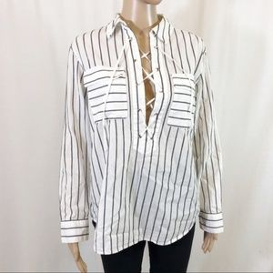 Equipment Striped Lace Up Popover Top